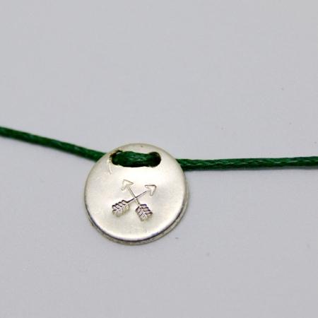 sterling silver friendship charm on cotton cord wish bracelet