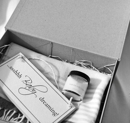 new baby gift set in black and white