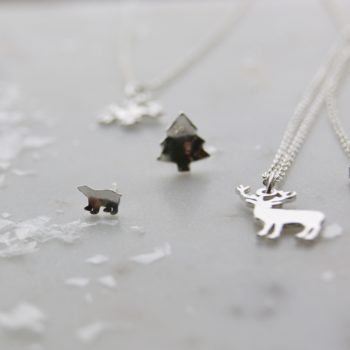 Christmas Tree Earrings polar bear earring stag necklace snowflake necklace - Sterling Silver