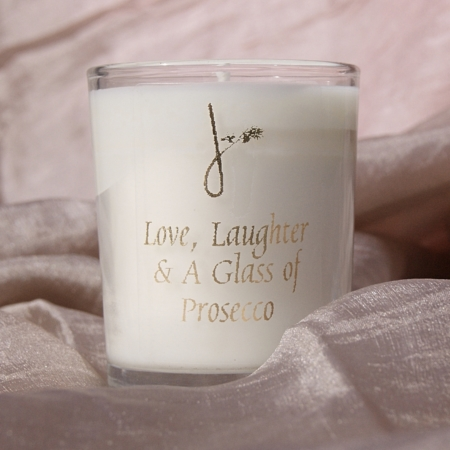Love Laughter and a Glass of Prosecco Candle