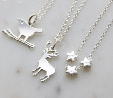 sterling silver stars necklace bird necklace and stag necklace