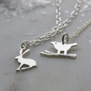 Hare bracelet and bird necklace sterling silver