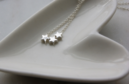 Star Necklace on heart dish