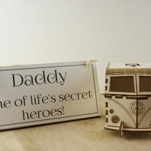 daddy sign and vw van light home of juniper