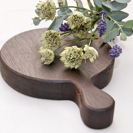 handmade small round wood board with flowers