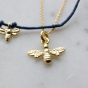 gold plated bee necklace made uk