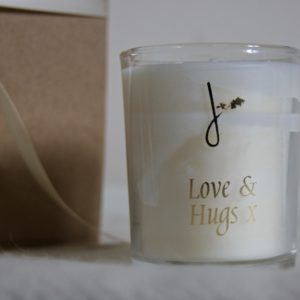 love and hugs candle and blanket