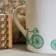 bone china mug with green bike pattern