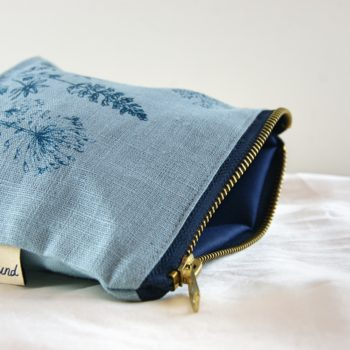 open linen make up bag by helen round in cowslip blue - home of juniper