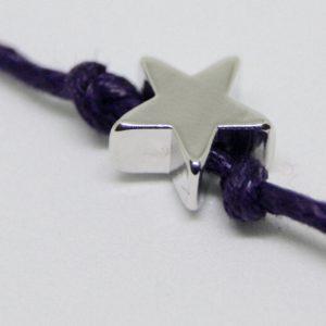 silver star wish bracelet on cotton cord