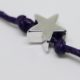 silver star wish bracelet on cotton cord