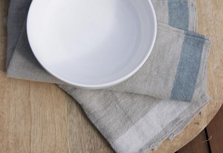 sue pryke cereal bowl on fair-trade linen napkins