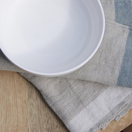 sue pryke cereal bowl on fair-trade linen napkins