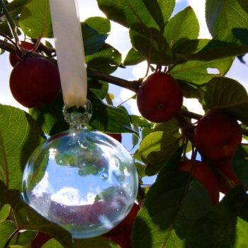 fair trade glass bauble hanging in a crab apple tree