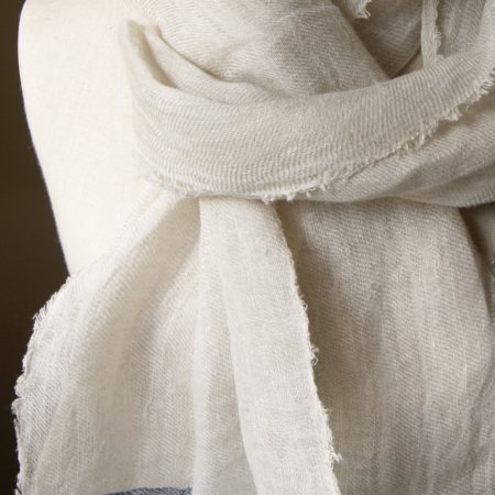 linen scarf neutral with blue stripes on mannequin