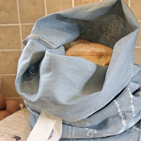 Duck Egg Blue Bread Bag - Helen Round