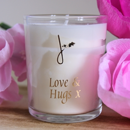 love and hugs scented candle with paper flowers home of juniper