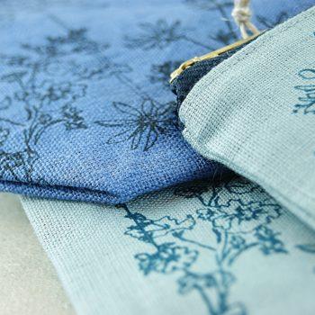 Linen Make Up Bag - Helen Round - Blues