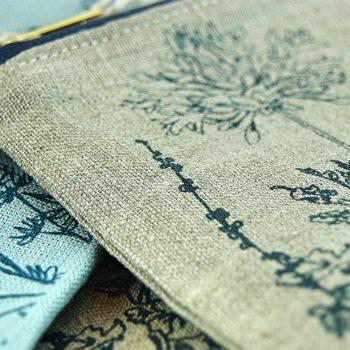 Linen Make-Up Bag- Helen Round - Natural