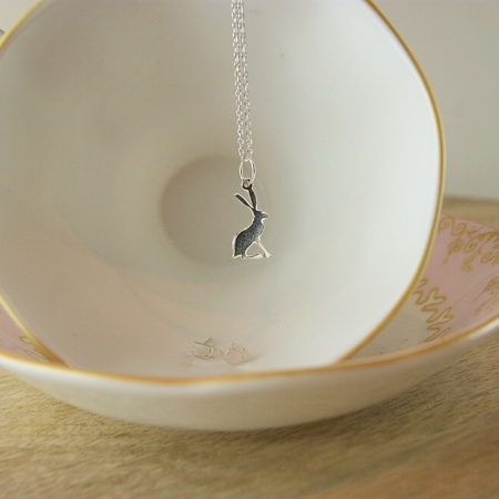 sterling silver hare necklace in a tea cup - home of juniper