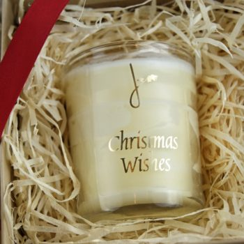close up on christmas wishes gift set with home of juniper christmas wishes candle