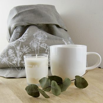 Natural Linen Bread Bag With Mug and Candle- Helen Round