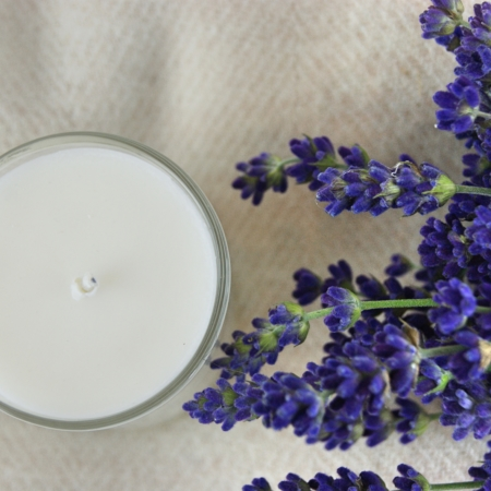 Scented candle on wool Blanket - Home of Juniper