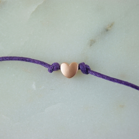 rose gold wish bracelet on purple cotton cord home of juniper