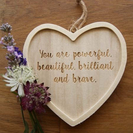 You are beautiful hanging heart decoration with quote
