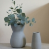 light grey sue pryke vases two styles with eucalyptus at home of juniper