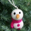 felt snowman with pink scarf and buttons -christmas decoration home of juniper