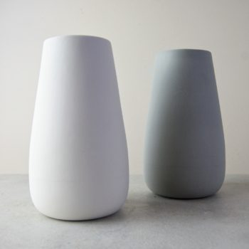 white and grey sue pryke vases