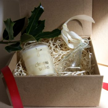 christmas wishes gift set with candle and clear teardrop bauble