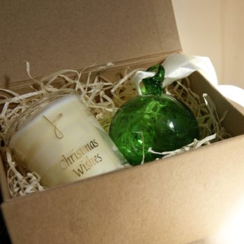 christmas wishes gift set with green glass bauble and candle