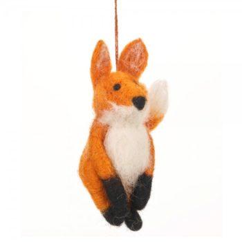 felt fox decoration hanging against white background home of juniper fair trade