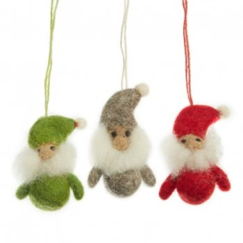 three mini hanging felt christmas santa clauses one green one grey and one in red