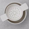 white tea bowl and tea strainer earternware by sue pryke for home of juniper
