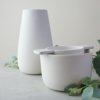 white earternware vase and tea-ware by sue pryke for home of juniper