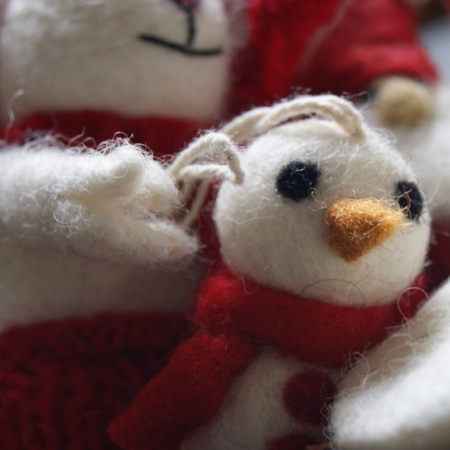 felt christmas decorations mini snowman in red scarf