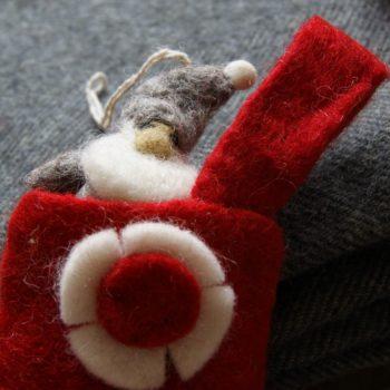 Mini Grey Fel Santa Decoration in the top of a felt stocking decoration