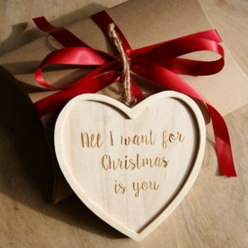 christmas heart quote decoration on gift