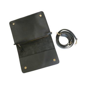 bina black leather handbag fair trade black
