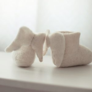 children's felt felted wool boots slippers with angel wings