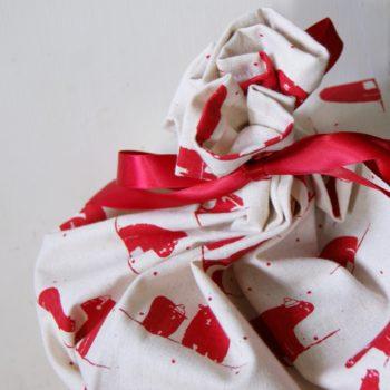 fabric gift bag - polar bear christmas - handmade- home of juniper