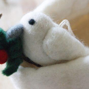 felt dove on a branch christmas decoration fair trade home of juniper