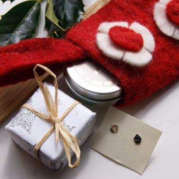 small felt stocking with christmas gifts in