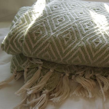 Green PET Yarn diamond weave blanket
