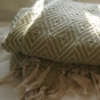 Green PET Yarn diamond weave blanket