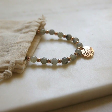 Labradorite Mandala bracelet. A lovely bracelet, great for everyday or special occasions. Labradorite beads are alternated with rose gold coloured beads, with a lovely mandala design charm.