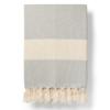 Dove grey herringbone cotton throw